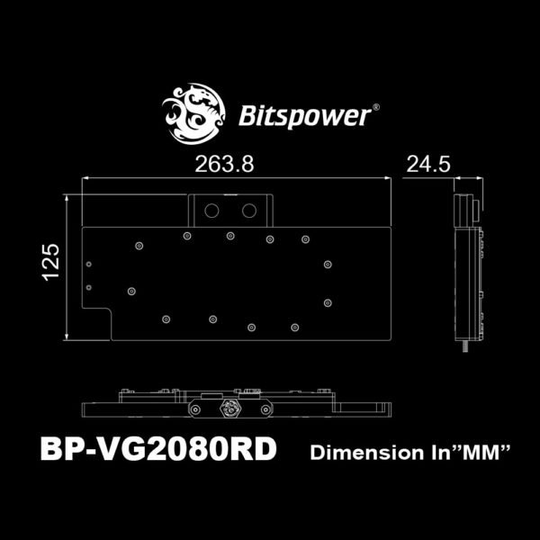 Bitspower Waterblock VGA Lotan NVIDIA GeForce RTX - Dimensions