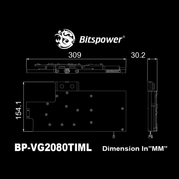 Dimensions du waterblock Bitspower pour carte graphique MSI GeForce RTX 2080 Ti Lightning Z